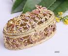 Butterfly Flower Rhinestone Bejeweled Enamel Trinket Jewelry Charm Box