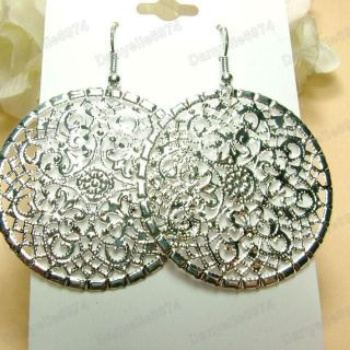 ornate FILIGREE drop EARRINGS gold/silver round hoop cut out disc