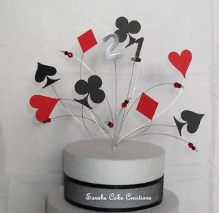 Birthday Celebration Cake Topper Card Suits Decoration