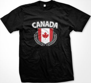 Canada Canadian Flag Crest Maple Leaf Olive Branch Hockey New Mens T