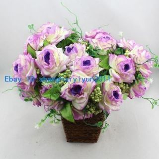 Artificial Flower Silk Rose Buds Wedding Bouquet (Purple) F73