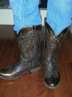 Candies Girls Cowboy Boots Size 5 Youth Cassidi Brown Side Zipper