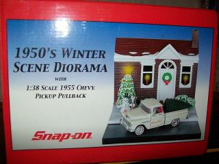 SNAP ON TOOLS 1950S WINTER SCENE DIORAMA 1/38 SCALE 1955 CHEVY PICKUP