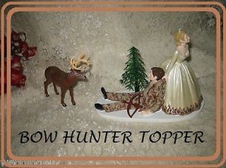 HUMOROUS WEDDING IVORY CAMO DEER BOW HUNTER HUNTING CAKE TOPPER