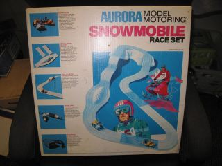 1971 AUORA Model Motoring Thunder Jet Snowmobile Race Set *MIB