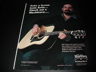 Washburn Guitars   Artie Traum 1985 Print Ad