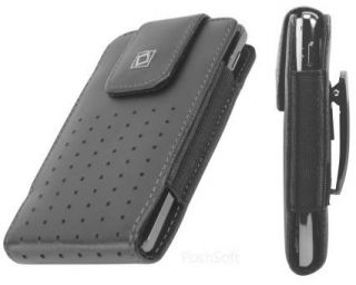 Leather VERTICAL Case Pouch Holder for SAMSUNG Phones. Black + Holster