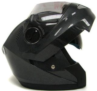 CARBON FULL FACE MODULAR MOTORCYCLE FLIP UP HELMET DUAL SHIELD SUN