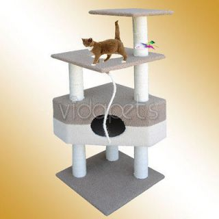 Beige Coffee Brown Cat Tree House Condo Scratcher Post Furniture