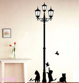 Hot Sale DIY Lamp&Cat Bird Wall Sticker Decal Decor Vinyl Art