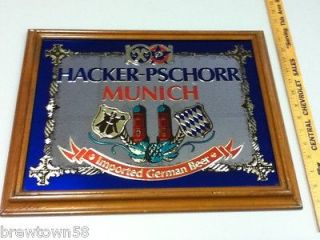 NL2 HACKER PSCHORR BEER SIGN MIRROR WOOD IMPORTED GERMANY GERMAN BIER