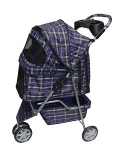 Fashion Blue Plaid Wide 3 Wheel Pet Dog Cat Stroller Free Raincover