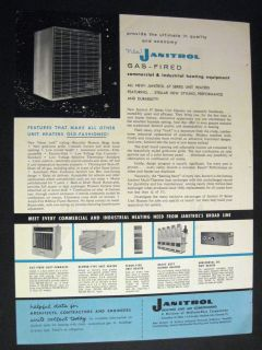 Vintage images of Gas fired Unit Heaters by Janitrol Midland Ross 1962