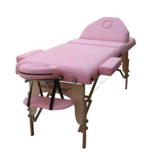 Pink 77L 3 Pad Portable Massage Table Bed Spa Tattoo Chair Facial