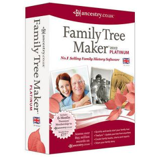 Family Tree Maker 2012 UK Platinum Edition / Version PC CD ROM   New