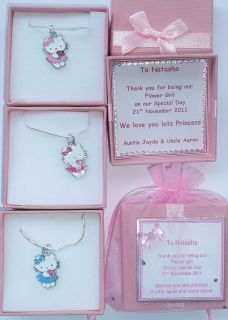 Hello Kitty Charm Necklace in Personalised Box Birthday, Bridesmaid