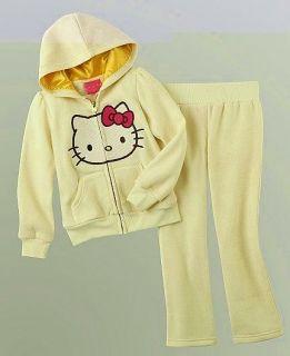 HELLO KITTY SANRIO Cream Shimmer Hoodie &Track Pants Clothing Set