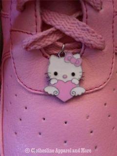 Pink Tennis Shoe Heels Stilettos Lace Ups w/hello kitty charm granny