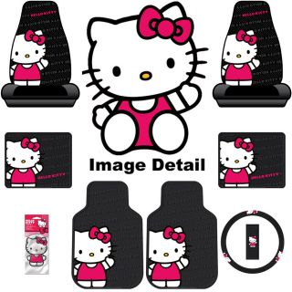 Hello Kitty Car 8 pcs Floor Mats Wheel Cover Seat Cover Air Freshener