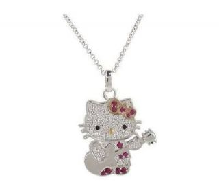 HELLO KITTY STERLING DIAMONIQUE ROCK STAR PENDANT CHAIN