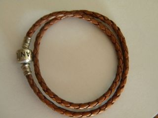Pandora Silver Clasp Brown Double Braided Small Leather Bracelet