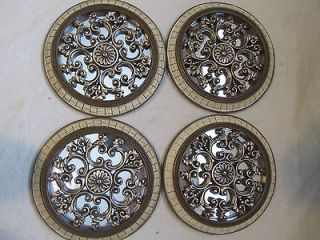 Set 4 Wall Mirrors Round 7 Flower Medallion Silver Scroll Filligree