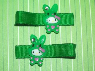 Green Hello Kitty in Easter Bunny Costume on Kelly Green Grosgrain
