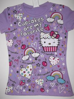 NWT Girls Kids HELLO KITTY T SHIRT Tee Cupcakes Cupcake Purple M XL