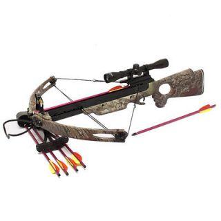 150lb Camo Compound Crossbow 4x32 Scope + 8 x Arrows + 3 x Broadheads