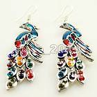 Gypsy Prancing Peacock Earring Necklace Cascading Teardrop Tail