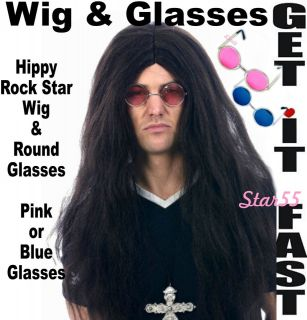 Long Brown Ozzy Hippie Hippy Rock Band Fancy Dress WIG & Round Glasses