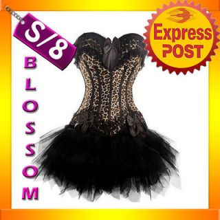 1296 Leopard Burlesque Moulin Rouge Costume Lollita Corset Top & Tutu