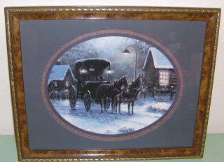 Homco Home Interiors Picture Horse Buggy Snow Cabin Sambataro Ornate