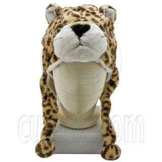 Cheetah Jaguar Leopard Animal Funny Mascot Plush Costume Adult Hat Cap