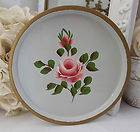 Vintage Cottage Chic Hand Painted Pink Roses Winter White Toleware