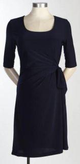 New JAPANESE WEEKEND MATERNITY CAREER DRESS Black Side Sweep Wrap $82