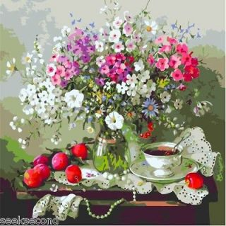 Acrylic Paint by Number Kit 50x40cm (20x16) Flowers & Coffee DIY