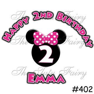 Hot pink black minnie mouse head birthday shirt name age tshirt 1st