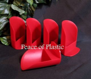 NEW LOT Canister Round RED Flour ROCKER SCOOP SCOOPS Set of 5 RARE