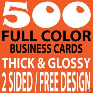 500 CUSTOM FULL COLOR BUSINESS CARDS, 16PT/FREE DESIGN