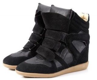 Womens Strappy High Top Hidden Wedge heels Sneaker Lady girls Ankle