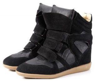 Womens Strappy High Top Hidden Wedge heels Sneaker Lady girls Ankle