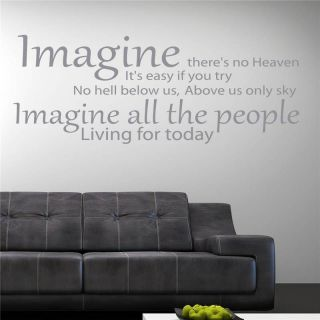 IMAGINE JOHN LENNON QUOTE WALL ART STICKER, WALL MURAL, WALL DECAL