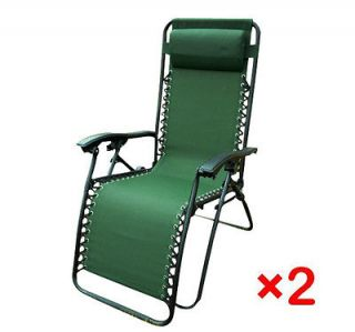 Set Of 2 Green Foldable Lounge Chair Garden Zero Gravity Recliner Home