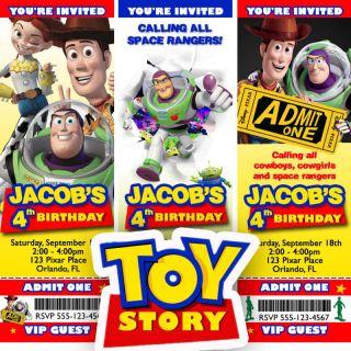 Toy Story 3 Birthday Party Ticket Invitation Buzz Woody