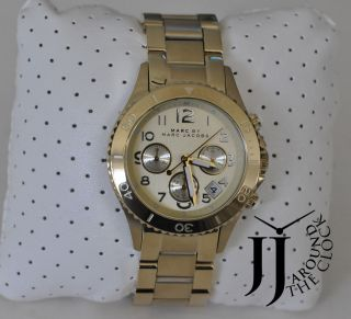 NEW MARC BY MARC JACOBS ROCK GOLD TONE CHRONOGRAGH WATCH MBM3188
