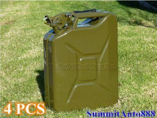 Nato Style Portable Jerry Can / Gas Tank 20L 4 Pcs w/ Spouts TPGT