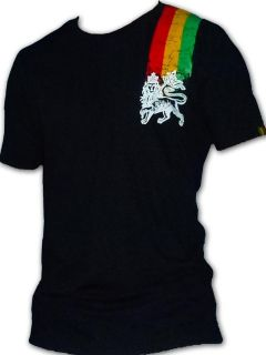 Rasta Reggae T SHIRT Bob Marley Lion Of Judah 3 Lines Black UK