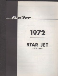1972 SNO JET SNOWMOBILE STAR JET HIRTH 292cc ENGINES PARTS MANUAL