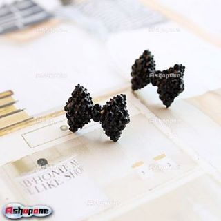 Fashion Lovely Cute Black Rhinestone Bowknot Bowtie Ear Stud Earrings